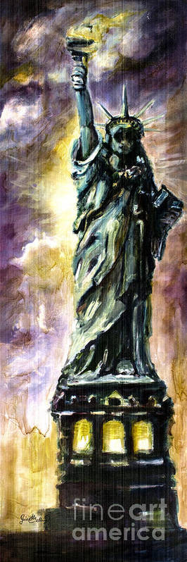 Poster featuring the painting Statue Of Liberty Part 4 by Ginette Callaway