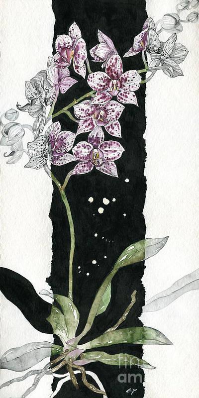 Art Poster featuring the painting Flower Orchid 04 Elena Yakubovich by Elena Yakubovich