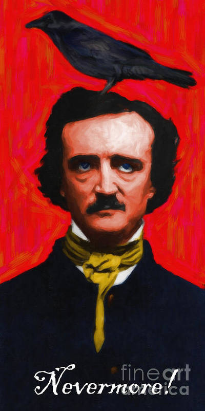 Edgar Poster featuring the photograph Nevermore - Edgar Allan Poe - Painterly by Wingsdomain Art and Photography