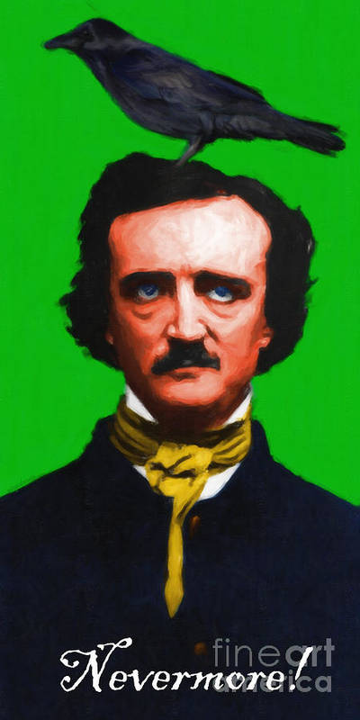 Edgar Poster featuring the photograph Quoth The Raven Nevermore - Edgar Allan Poe - Painterly - Green - With Text by Wingsdomain Art and Photography
