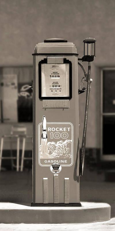 Rocket 100 Poster featuring the photograph Rocket 100 Gasoline - Tokheim Gas Pump 2 by Mike McGlothlen