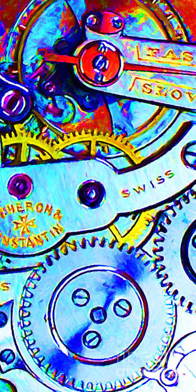 Steampunk Poster featuring the photograph Time In Abstract 20130605 Long by Wingsdomain Art and Photography