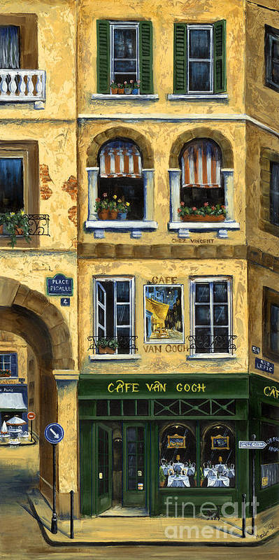 Europe Poster featuring the painting Cafe Van Gogh Paris by Marilyn Dunlap