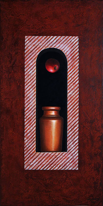 Apple Poster featuring the painting Fugitive Apple Essence by Horacio Cardozo