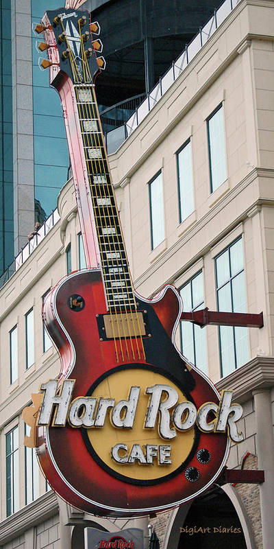 Guitar Poster featuring the digital art Gibson Les Paul Of The Hard Rock Cafe by DigiArt Diaries by Vicky B Fuller