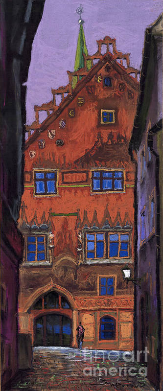 Pastel Poster featuring the painting Germany Ulm by Yuriy Shevchuk