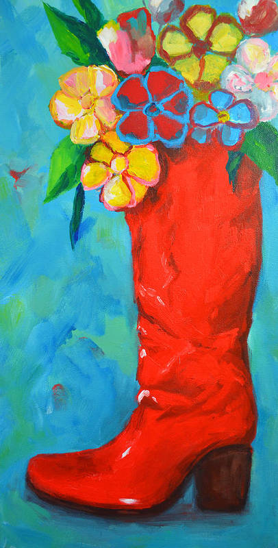 Art Poster featuring the painting Red Boot With Flowers by Patricia Awapara
