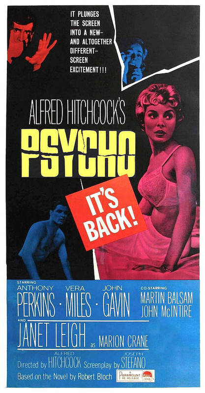 1960 Movies Poster featuring the photograph Psycho, Top Left Anthony Perkins Top by Everett