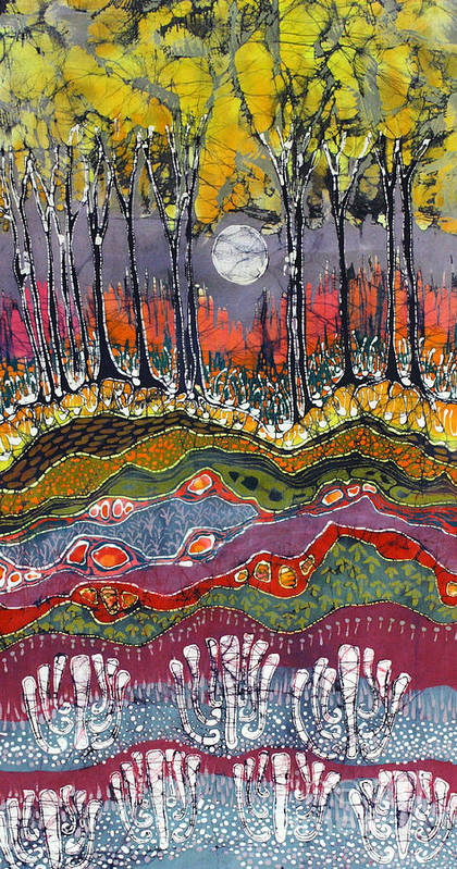 Batik Poster featuring the tapestry - textile Moonlight Over Spring by Carol Law Conklin