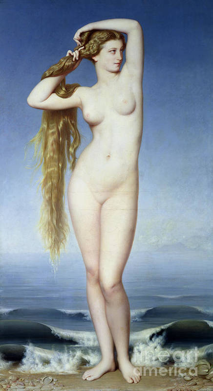 The Birth Of Venus (oil On Canvas) By Eugene Emmanuel Amaury-duval (1808-85) Poster featuring the painting The Birth Of Venus by Eugene Emmanuel Amaury Duval