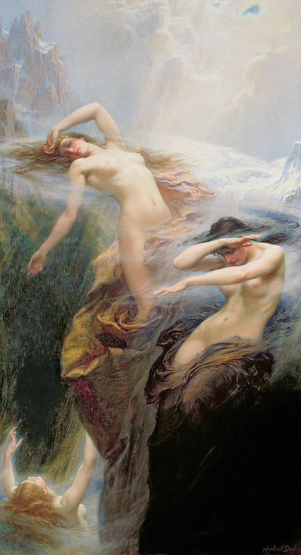 Nude Poster featuring the painting The Mountain Mists by Herbert James Draper