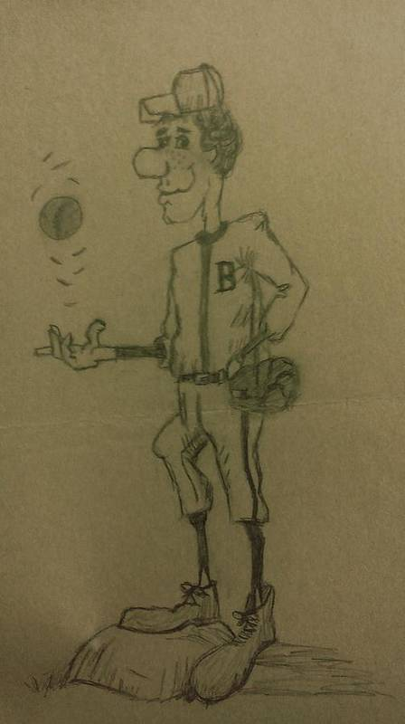Sports Poster featuring the drawing B Is For Baseball by Christy Saunders Church