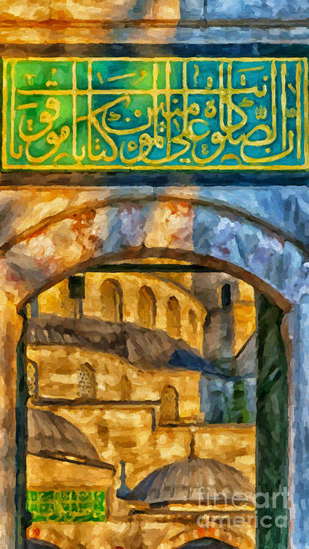 Digital Poster featuring the painting Blue Mosque Painting by Antony McAulay