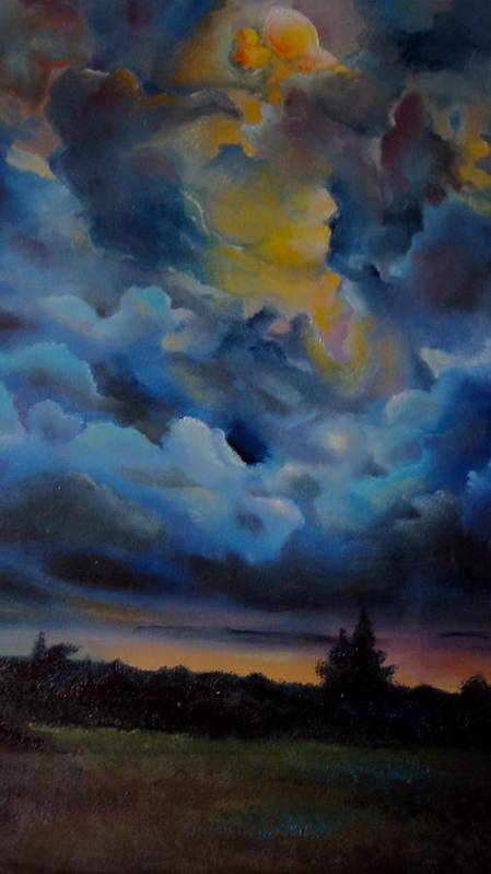 Nature Poster featuring the painting Storm Coming At The Sunset by Alessandra Andrisani