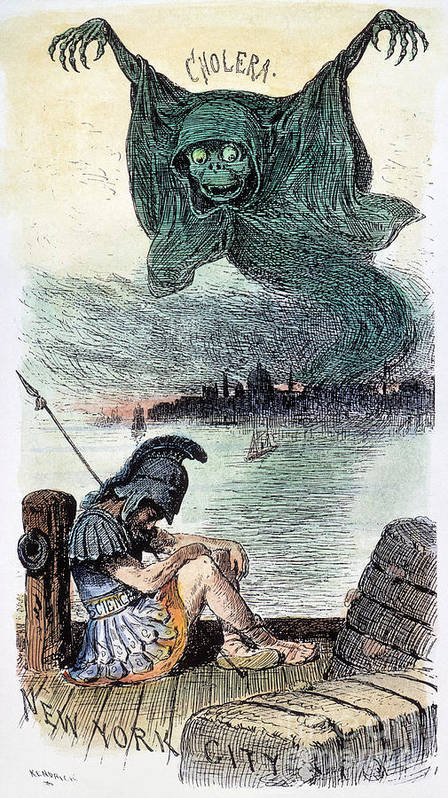 1883 Poster featuring the photograph U.s. Cartoon: Cholera, 1883 by Granger