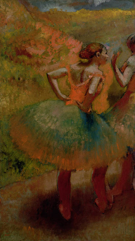 Dancers Wearing Green Skirts Poster featuring the pastel Dancers Wearing Green Skirts by Edgar Degas