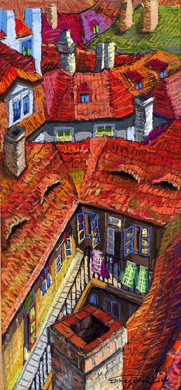 Pastel Poster featuring the painting Prague Roofs 01 by Yuriy Shevchuk