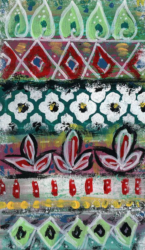 Fiesta Poster featuring the painting Floral Fiesta- Colorful Pattern Painting by Linda Woods