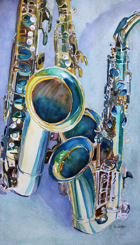 Sax Poster featuring the painting Saxy Trio by Jenny Armitage
