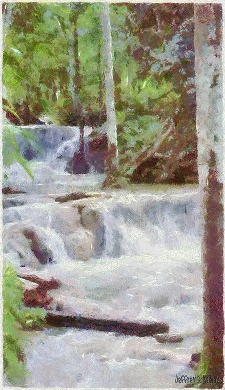 Dunn River Poster featuring the painting Dunn River Falls by Jeff Kolker