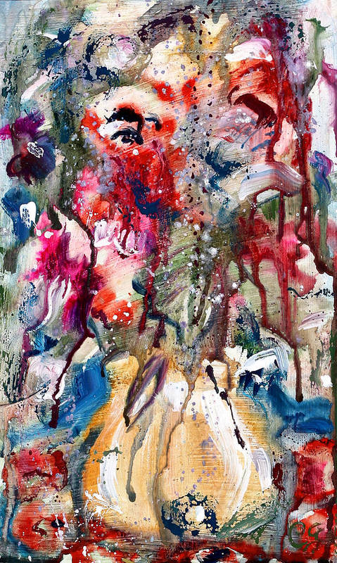 Abstract Floral Print. Abstract Vase Flower Painting Poster featuring the painting Fantasy Floral 2 by Carole Goldman