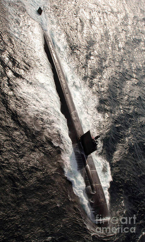 Color Image Poster featuring the photograph Los Angeles-class Submarine Uss by Stocktrek Images