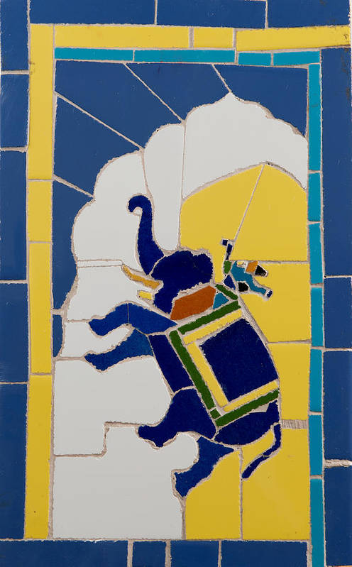 Tile Mosaic Poster featuring the ceramic art Elephant Rider by Haris Sheikh