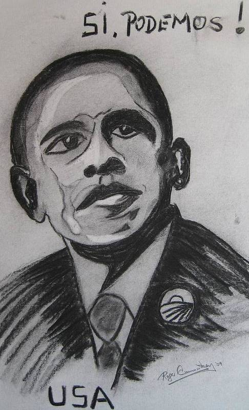 Portrait Poster featuring the painting Obama by Roger Cummiskey