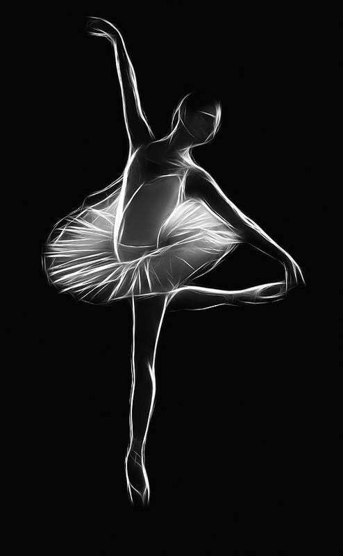 Dance Dancer Ballet Dancing Girl Female Woman Cute Lovely Black White Expressionism Impressionism Sensual Beauty Digital Art Poster featuring the painting The Dancer by Steve K