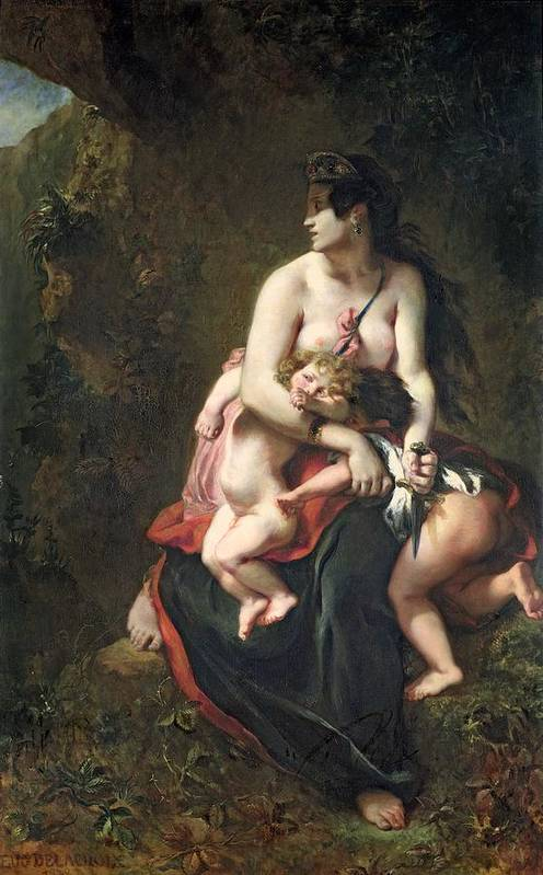 Medea Poster featuring the painting Medea by Ferdinand Victor Eugene Delacroix