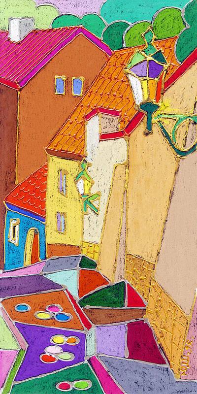 Pastel Poster featuring the painting Prague Old Street Ceminska Novy Svet by Yuriy Shevchuk