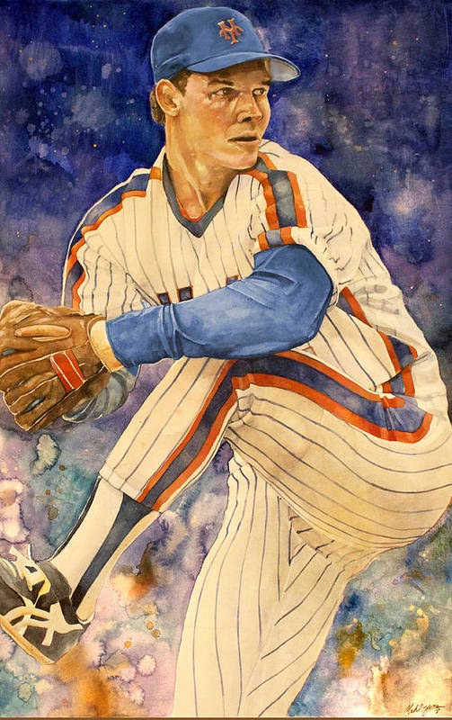 New York Mets Poster featuring the painting David Cone by Michael Pattison