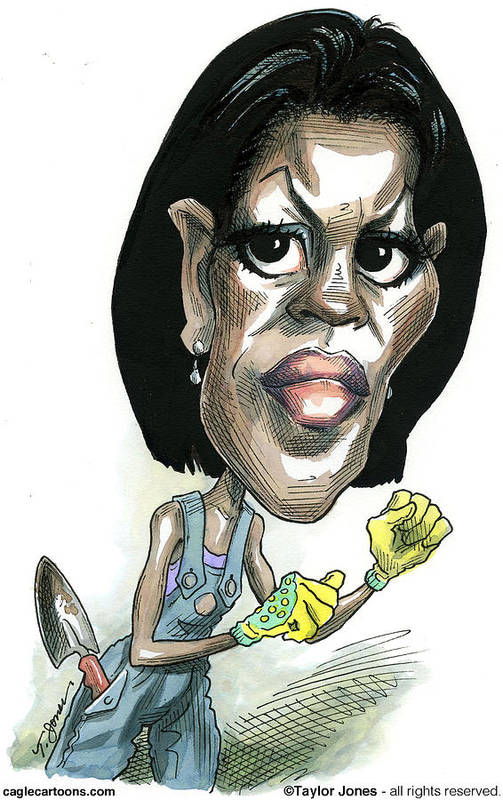 Michelle Poster featuring the drawing Michelle Obama by Taylor Jones