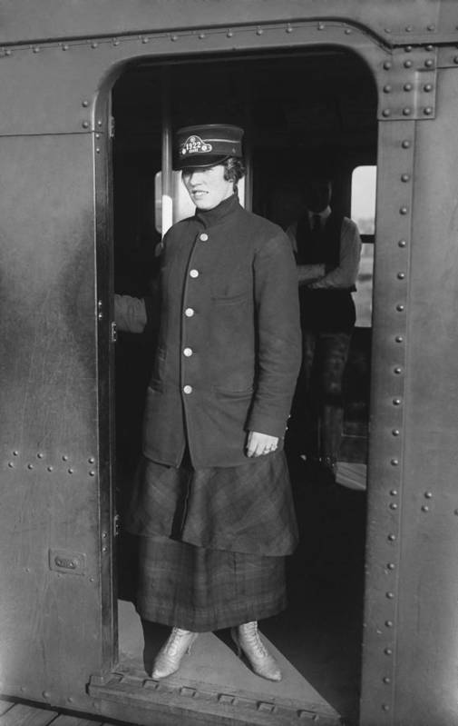 History Poster featuring the photograph Uniformed Woman Brooklyn Subway Guard by Everett