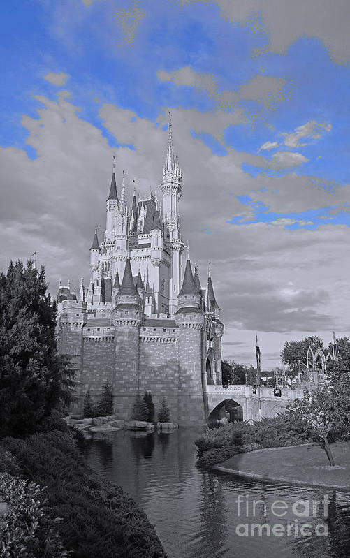 Walt Disney World Magic Kingdom Cinderella Castle Black And White Blue Sky River Reflection Water Poster featuring the pyrography Walt Disney World - Cinderella Castle by AK Photography