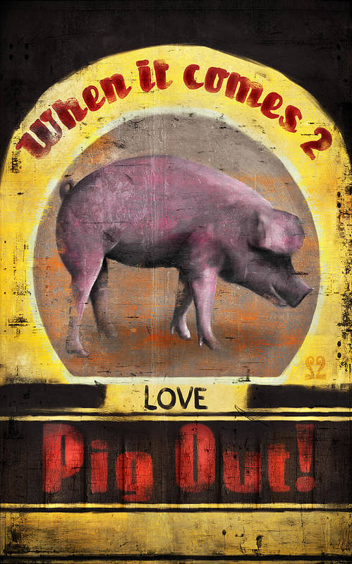 Pig Poster featuring the digital art Pig Out by Joel Payne
