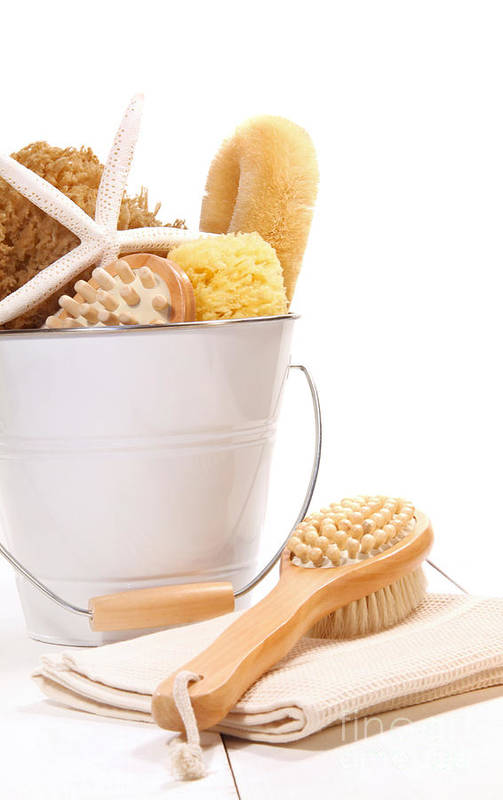 Accessory Poster featuring the photograph White Bucket Filled With Sponges And Scrub Brushes by Sandra Cunningham