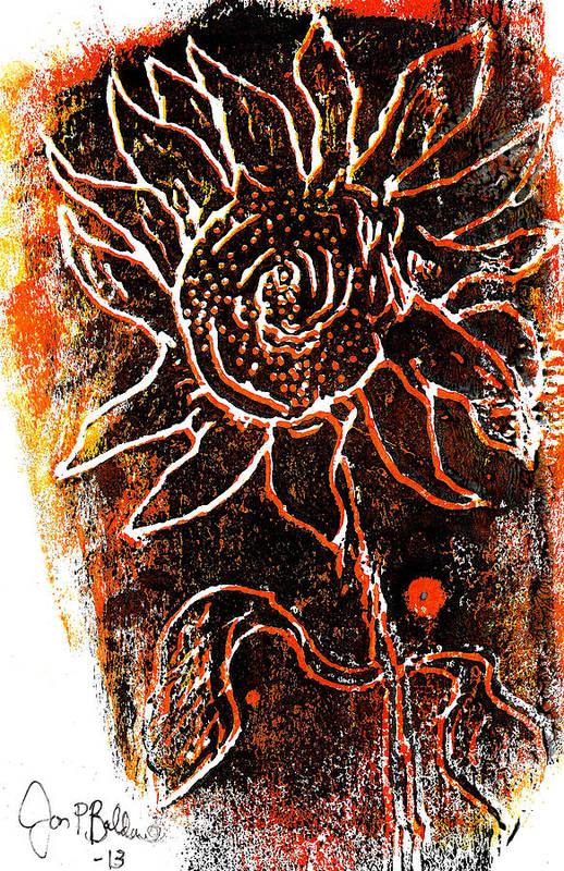 Woodcut Poster featuring the mixed media Sunflower by Jon Baldwin Art