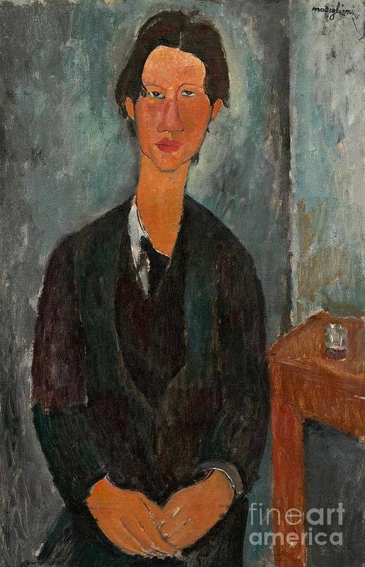 Chaim Soutine; Painter; Male; French; Portrait; Half Length; Stylised; Stylized; Artist; Table; Seated Poster featuring the painting Chaim Soutine by Amedeo Modigliani