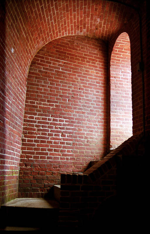 Alcove Poster featuring the photograph Dark Brick Passageway by Frank Romeo