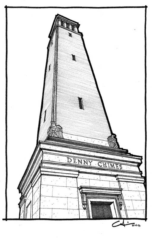 Sketch Poster featuring the drawing Denny Chimes by Calvin Durham