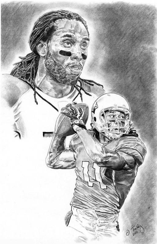 Larry Fitzgerald Poster featuring the drawing Larry Fitzgerald by Jonathan Tooley