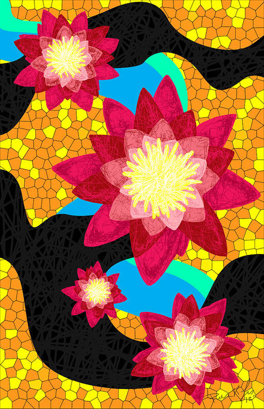 Lotus Flower Bombs Poster featuring the drawing Lotus Flower Bombs In Magenta by Pierre Louis