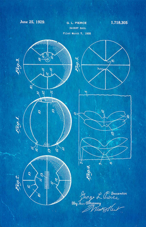 Basket Ball Poster featuring the photograph Pierce Basketball Patent Art 1929 Blueprint by Ian Monk