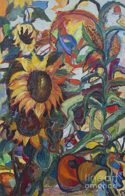 Sunflower Paintings Poster featuring the painting Sunflowers by Avonelle Kelsey