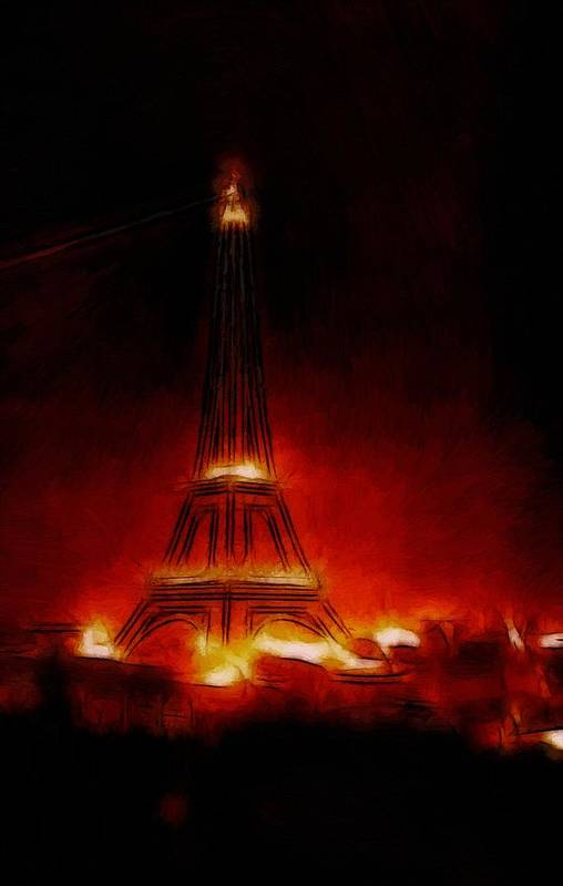 Paris France Night Nights Nightlife Eiffel Tower Light Lights Expressionism Impressionism Red Orange Yellow Glow Glowing Painting City Cityscape Monument Poster featuring the painting Paris Nights by Stefan Kuhn