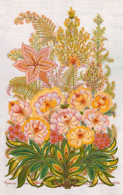 Flowers Poster featuring the painting Charming Dreams Of My Childhood by Marfa Tymchenko