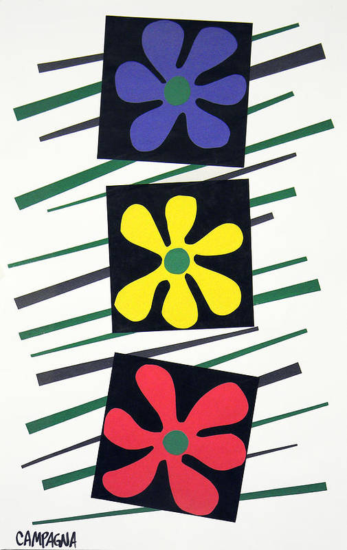 Cut Paper On Paper Poster featuring the tapestry - textile Flowers Three by Teddy Campagna