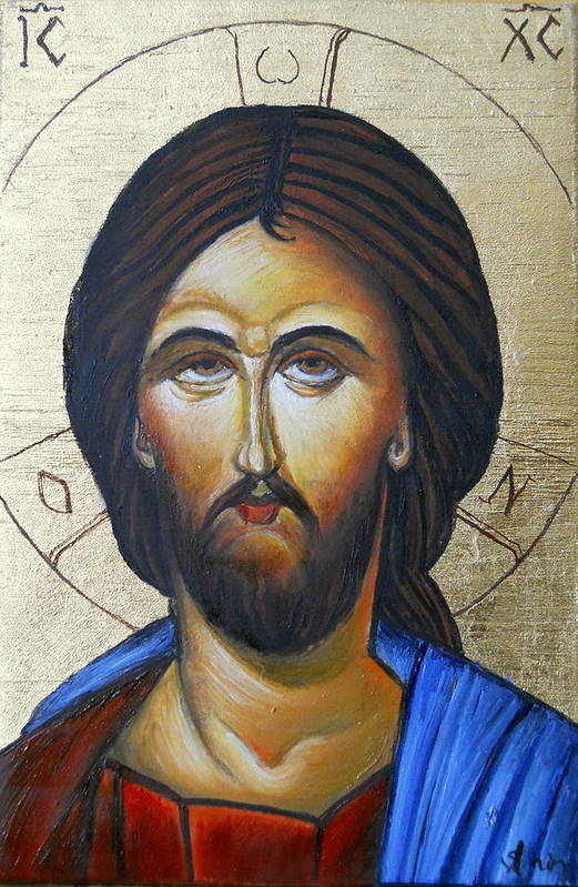 Jesus Icon Poster featuring the painting Jesus by Sorin Apostolescu