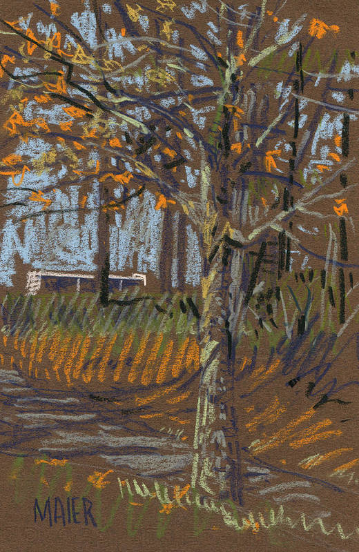 Landscape Poster featuring the drawing Turning Leaves by Donald Maier